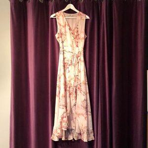 High low faux wrap dress